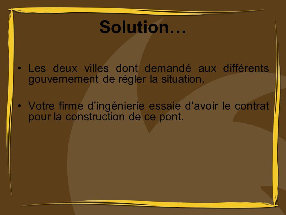 Solution… Les deux villes dont demandé aux différents gouvernement de régler la situation. Votre firme dingénierie essaie davoir le contrat pour la co