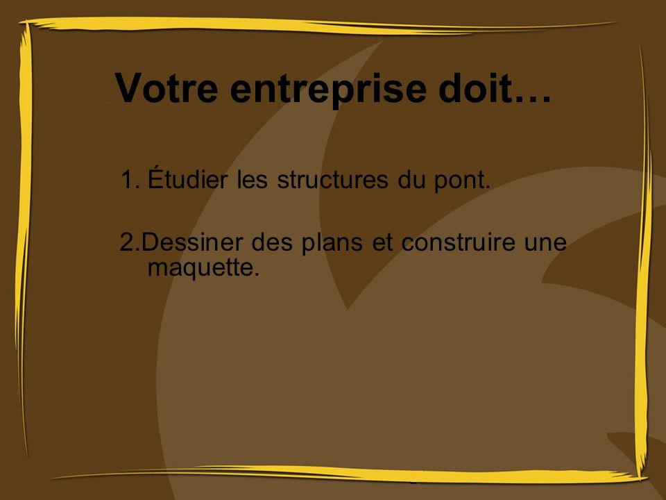 Votre entreprise doit… 1.Étudier les structures du pont. 2.Dessiner des plans et construire une maquette.