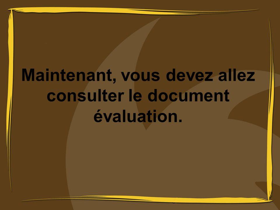 Maintenant, vous devez allez consulter le document évaluation.