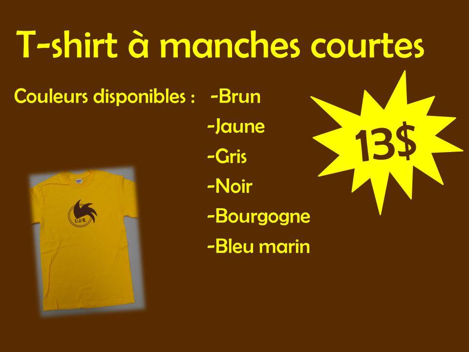 T-shirt à manches courtes Couleurs disponibles : -Brun -Jaune -Gris -Noir -Bourgogne -Bleu marin 13$