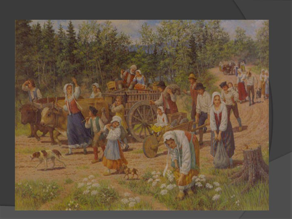 En 1763, lAngleterre supprime lordre de déportation Les Acadiens sont permis de sétablir sur le territoire canadien