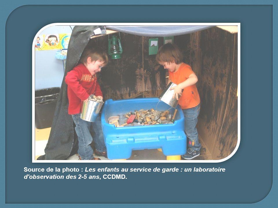 Source de la photo : Les enfants au service de garde : un laboratoire d observation des 2-5 ans, CCDMD.