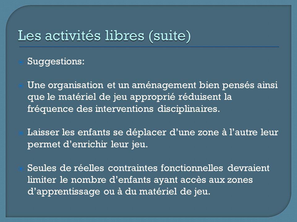 Suggestions: Une organisation et un aménagement bien pensés ainsi que le matériel de jeu approprié réduisent la fréquence des interventions disciplinaires.
