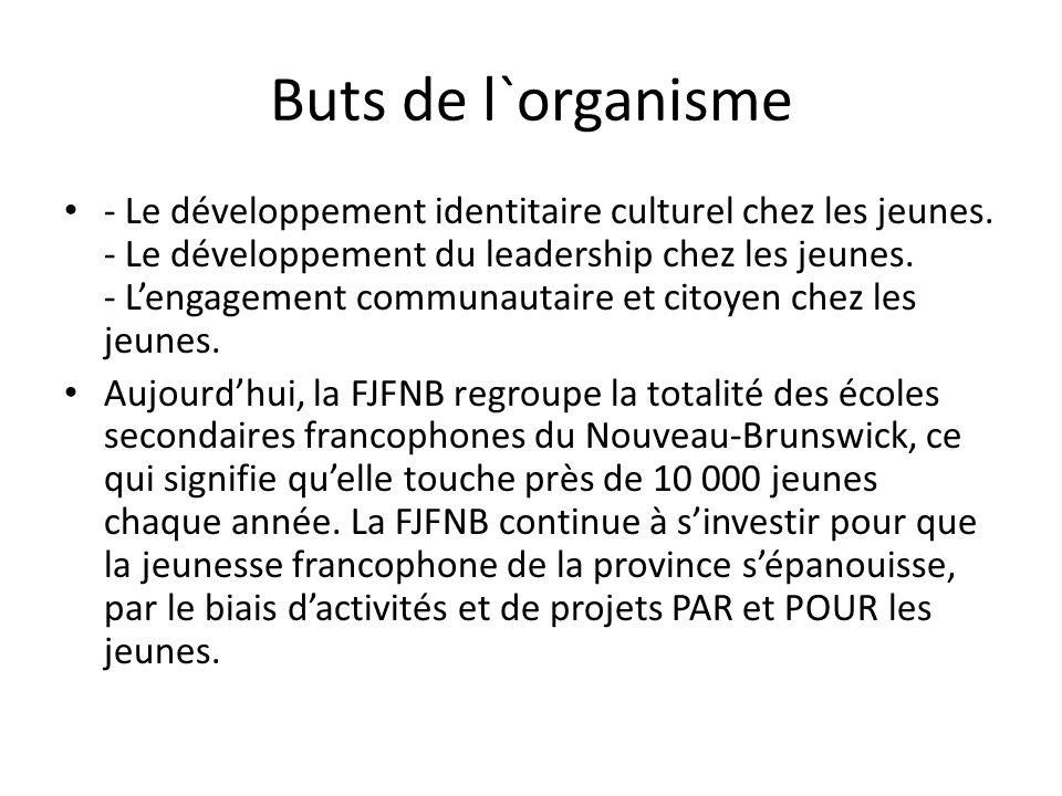 Buts de l`organisme - Le développement identitaire culturel chez les jeunes. - Le développement du leadership chez les jeunes. - Lengagement communaut