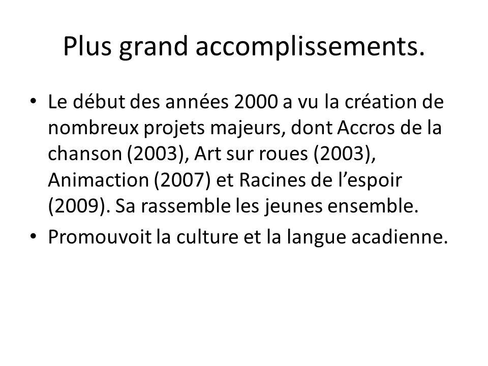 Plus grand accomplissements. Le début des années 2000 a vu la création de nombreux projets majeurs, dont Accros de la chanson (2003), Art sur roues (2