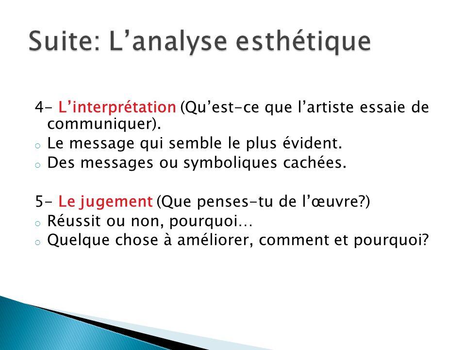 4- Linterprétation (Quest-ce que lartiste essaie de communiquer). o Le message qui semble le plus évident. o Des messages ou symboliques cachées. 5- L