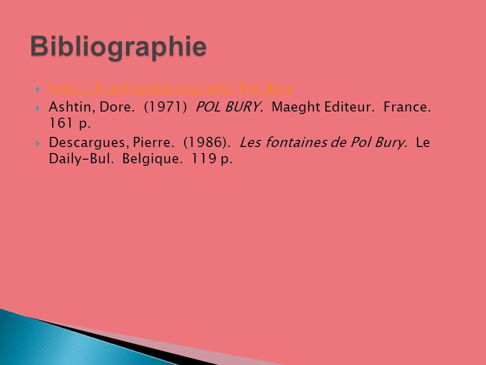 http://fr.wikipedia.org/wiki/Pol_Bury Ashtin, Dore. (1971) POL BURY. Maeght Editeur. France. 161 p. Descargues, Pierre. (1986). Les fontaines de Pol B