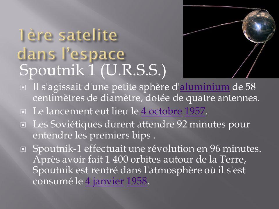 Spoutnik 1 (U.R.S.S.) Il s'agissait d'une petite sphère d'aluminium de 58 centimètres de diamètre, dotée de quatre antennes.aluminium Le lancement eut
