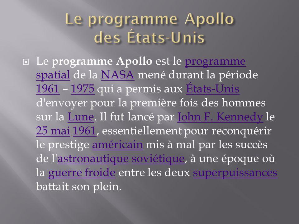 Le programme Apollo est le programme spatial de la NASA mené durant la période 1961 – 1975 qui a permis aux États-Unis d'envoyer pour la première fois