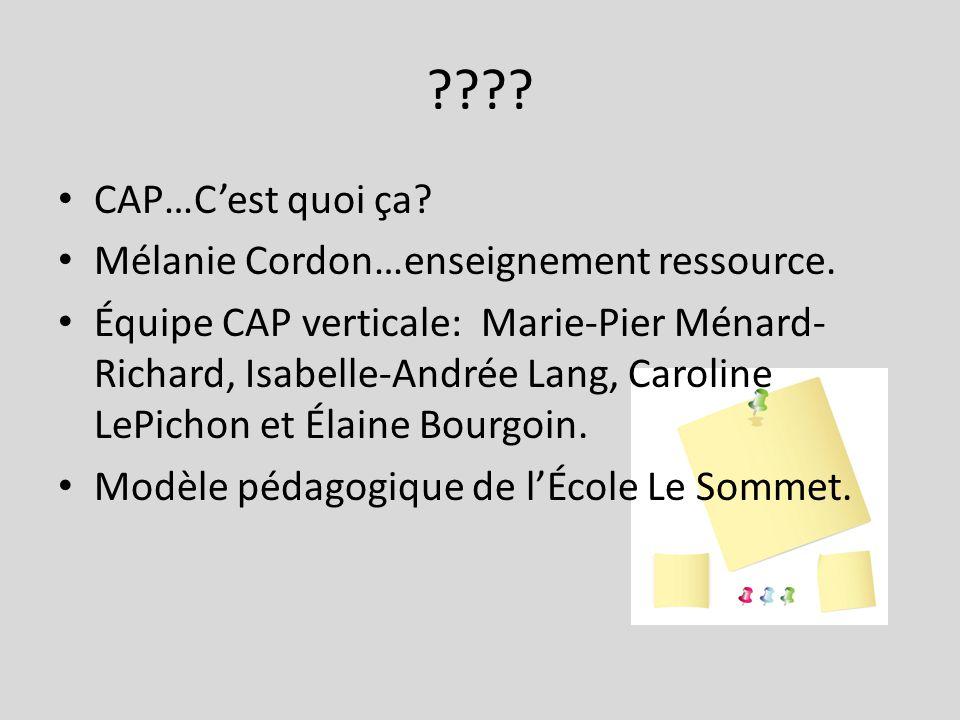 ???? CAP…Cest quoi ça? Mélanie Cordon…enseignement ressource. Équipe CAP verticale: Marie-Pier Ménard- Richard, Isabelle-Andrée Lang, Caroline LePicho