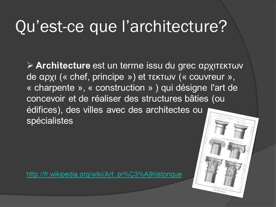 Quest-ce que larchitecture? Architecture est un terme issu du grec αρχιτεκτων de αρχι (« chef, principe ») et τεκτων (« couvreur », « charpente », « c