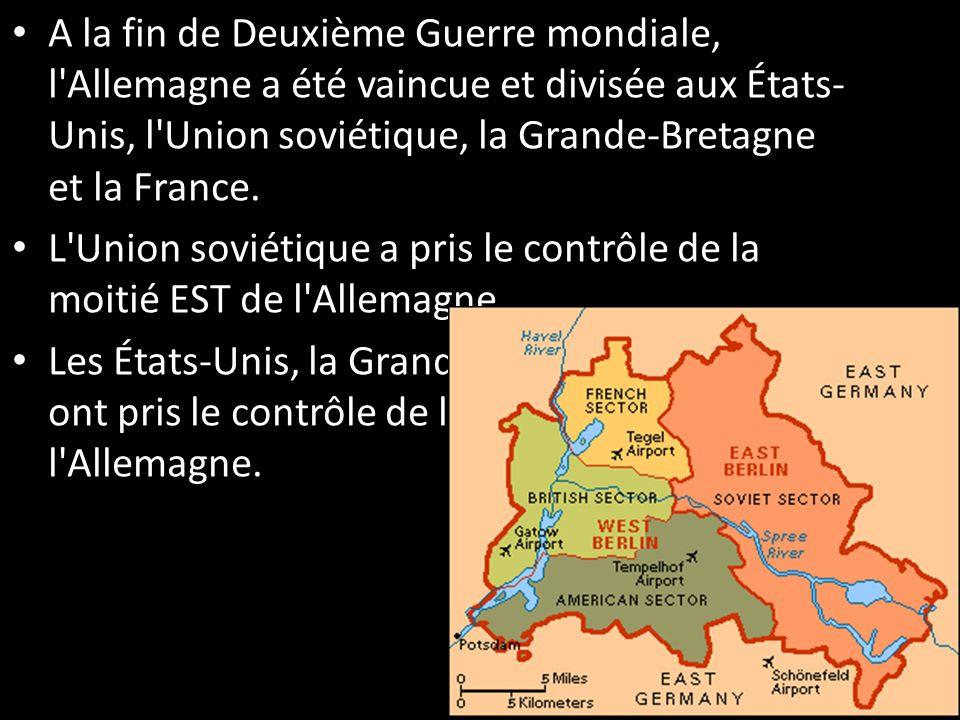 A la fin de Deuxième Guerre mondiale, l'Allemagne a été vaincue et divisée aux États- Unis, l'Union soviétique, la Grande-Bretagne et la France. L'Uni