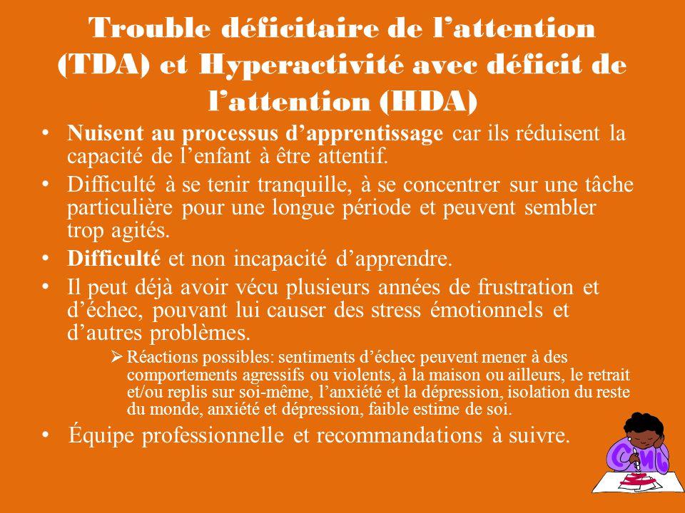 Trouble déficitaire de lattention (TDA) et Hyperactivité avec déficit de lattention (HDA) Nuisent au processus dapprentissage car ils réduisent la capacité de lenfant à être attentif.