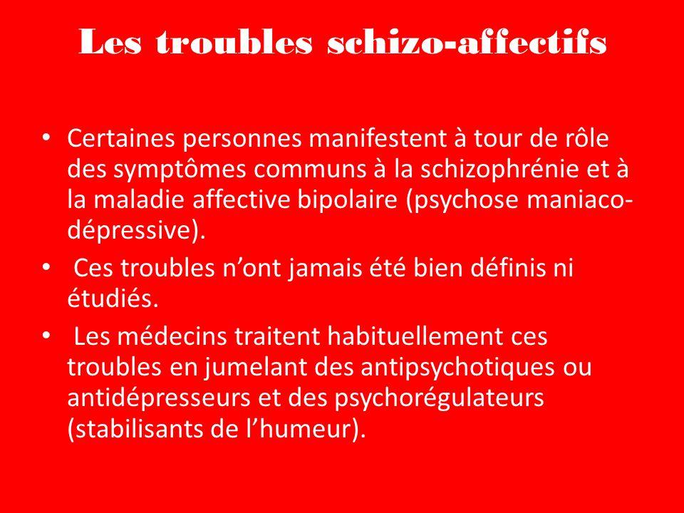 Les troubles schizo-affectifs Certaines personnes manifestent à tour de rôle des symptômes communs à la schizophrénie et à la maladie affective bipolaire (psychose maniaco- dépressive).