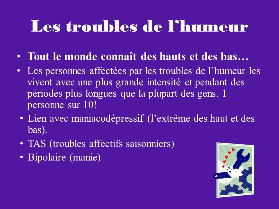 Plusieurs autres… Pour une description formelle: http://www.ccdh-paris.fr/ccdh-hopital-de-jour- paris/ http://www.ccdh-paris.fr/ccdh-hopital-de-jour- paris/ http://www.institutsmq.qc.ca/ http://www.gnb.ca/0055/mental-health-f.asp Pour fouiller (non-formelle): http://fr.wikipedia.org/wiki/Liste_des_troubles_m entaux http://fr.wikipedia.org/wiki/Liste_des_troubles_m entaux