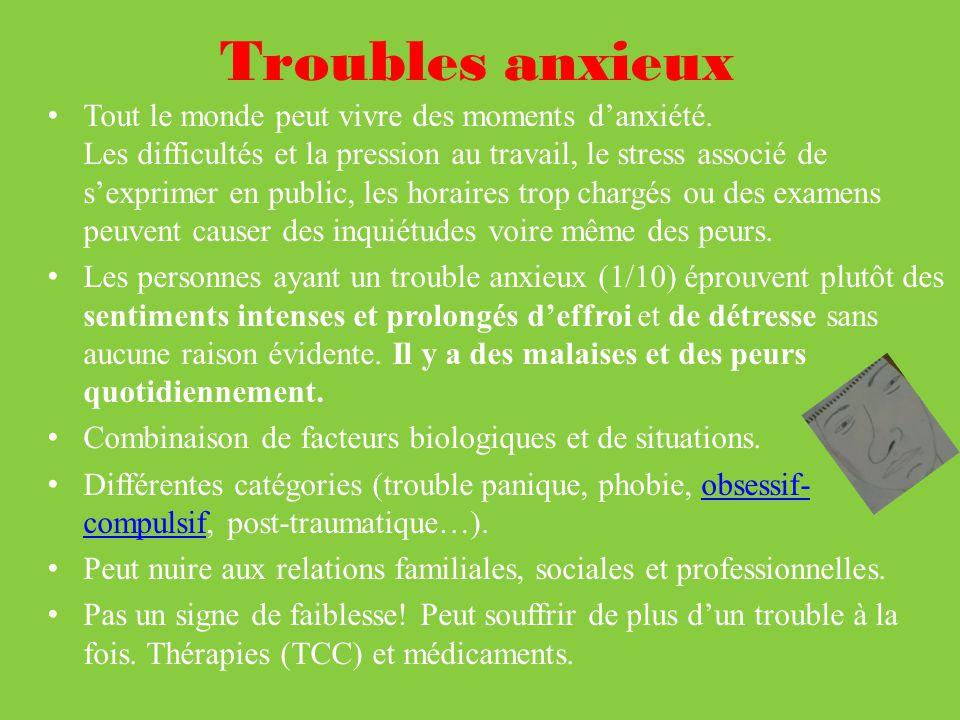 Troubles anxieux Tout le monde peut vivre des moments danxiété.