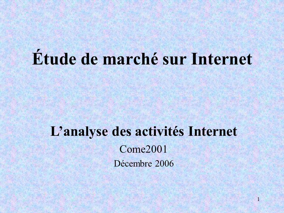 1 Étude de marché sur Internet Lanalyse des activités Internet Come2001 Décembre 2006