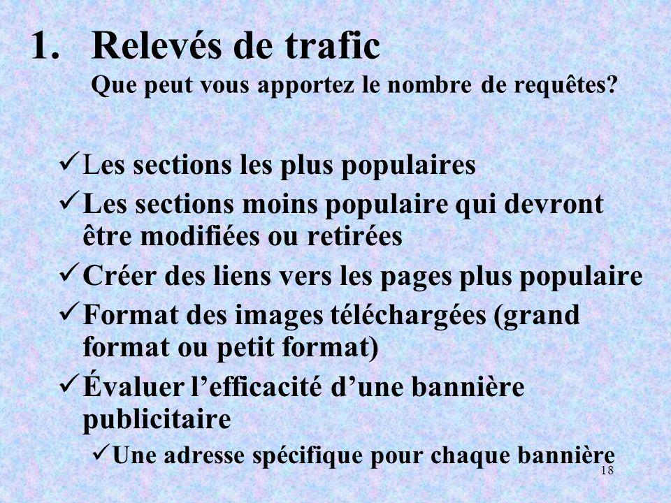 18 1.Relevés de trafic Que peut vous apportez le nombre de requêtes.