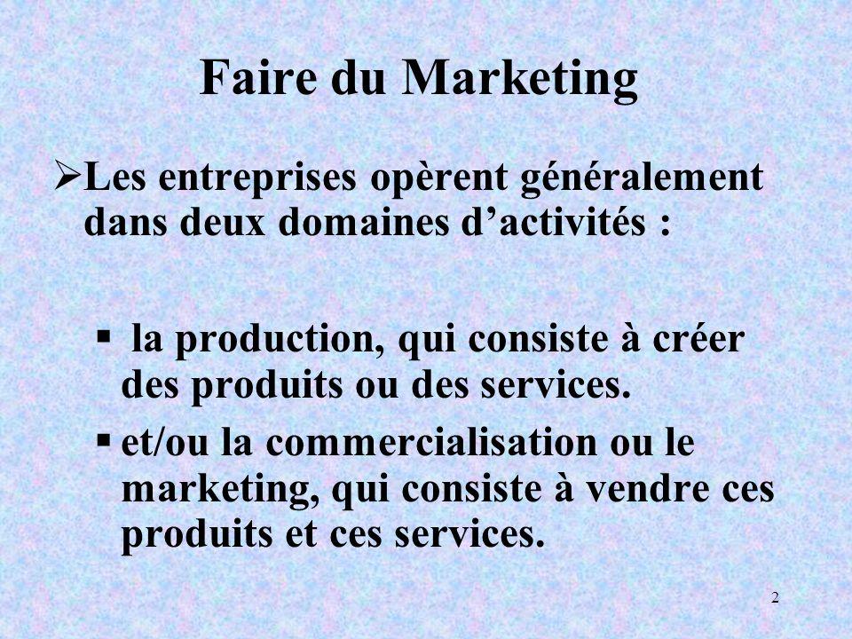 2 Faire du Marketing Les entreprises opèrent généralement dans deux domaines dactivités : la production, qui consiste à créer des produits ou des services.