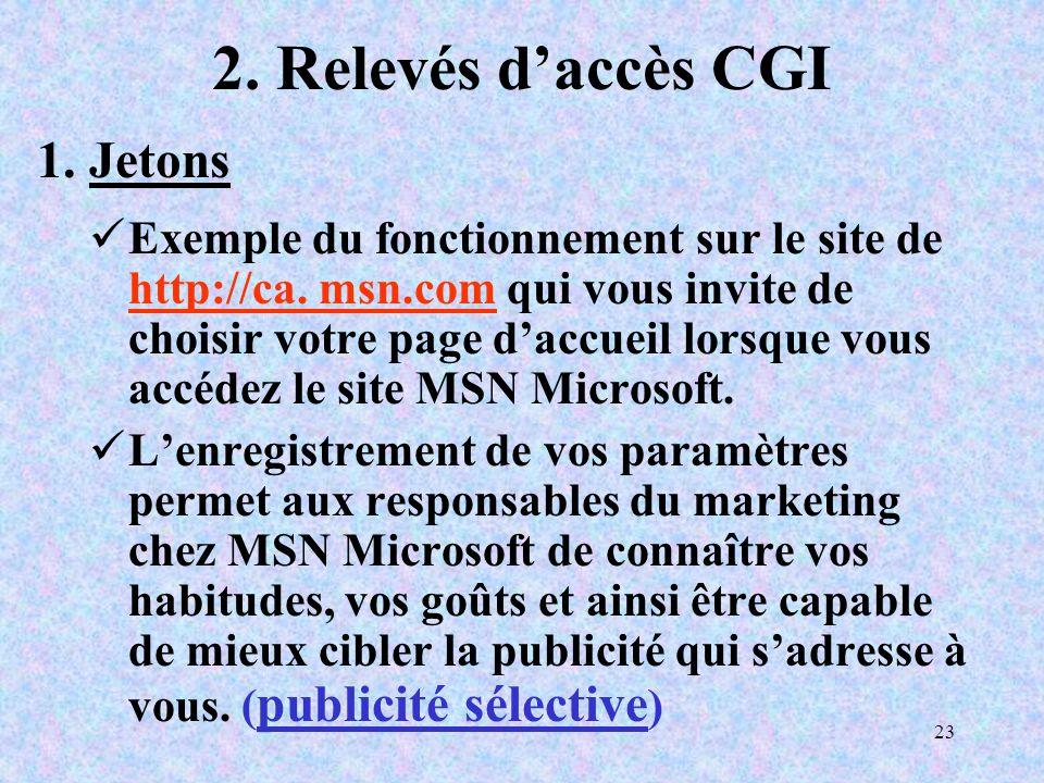 23 2. Relevés daccès CGI Exemple du fonctionnement sur le site de http://ca.