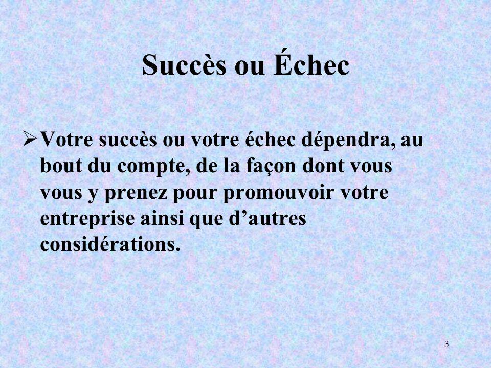 3 Succès ou Échec Votre succès ou votre échec dépendra, au bout du compte, de la façon dont vous vous y prenez pour promouvoir votre entreprise ainsi que dautres considérations.