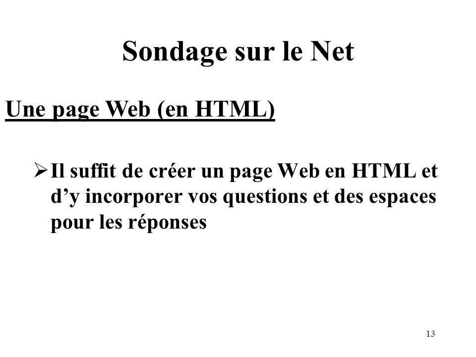 13 Sondage sur le Net Il suffit de créer un page Web en HTML et dy incorporer vos questions et des espaces pour les réponses Une page Web (en HTML)