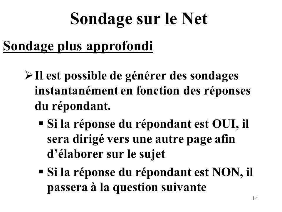 14 Sondage sur le Net Il est possible de générer des sondages instantanément en fonction des réponses du répondant.