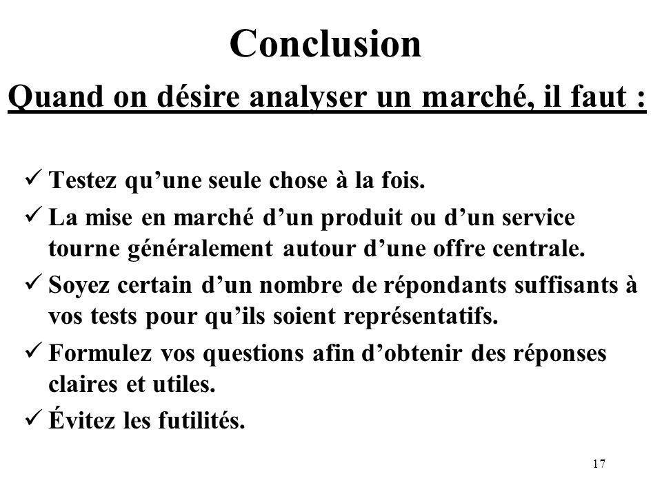 17 Conclusion Testez quune seule chose à la fois.
