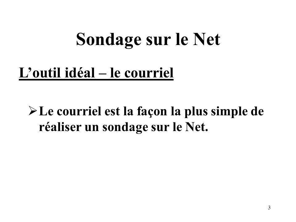 3 Sondage sur le Net Le courriel est la façon la plus simple de réaliser un sondage sur le Net.