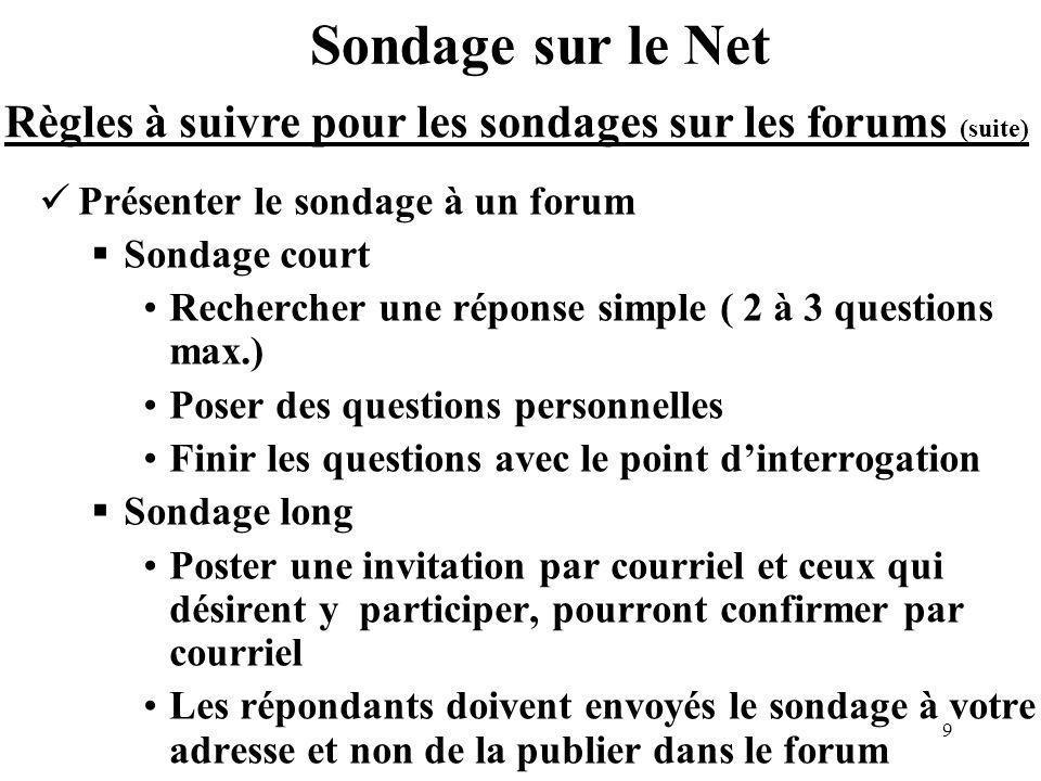 10 Sondage sur le Net Une autre méthode deffectuer des sondages est le Web (Net) Cette méthode est la plus profitable