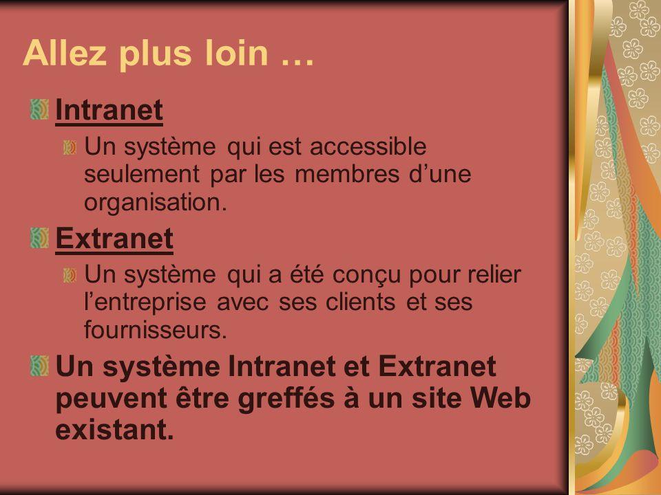 Allez plus loin … Intranet Un système qui est accessible seulement par les membres dune organisation. Extranet Un système qui a été conçu pour relier