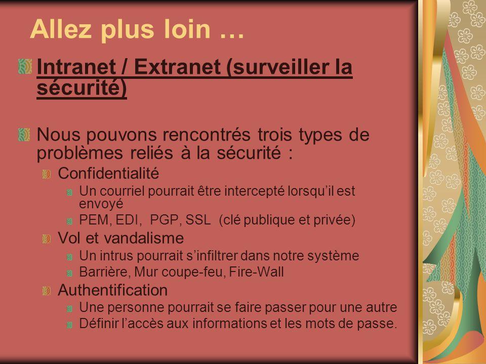 Allez plus loin … Intranet / Extranet (surveiller la sécurité) Nous pouvons rencontrés trois types de problèmes reliés à la sécurité : Confidentialité