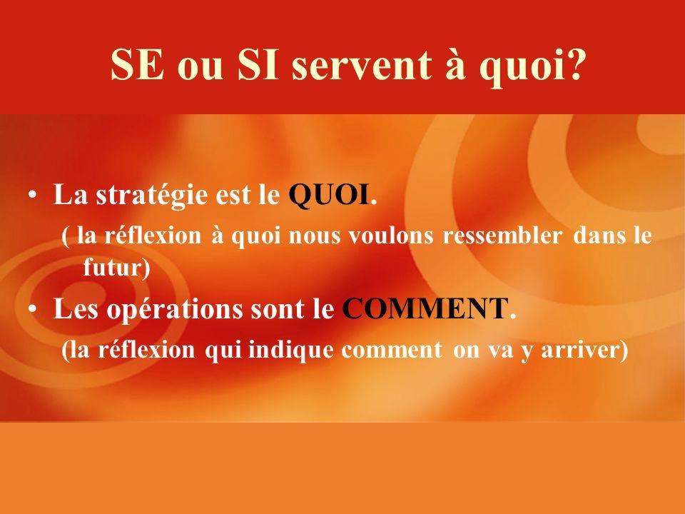 SE ou SI servent à quoi. La stratégie est le QUOI.