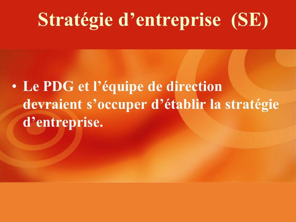 Stratégie dentreprise (SE) Le PDG et léquipe de direction devraient soccuper détablir la stratégie dentreprise.