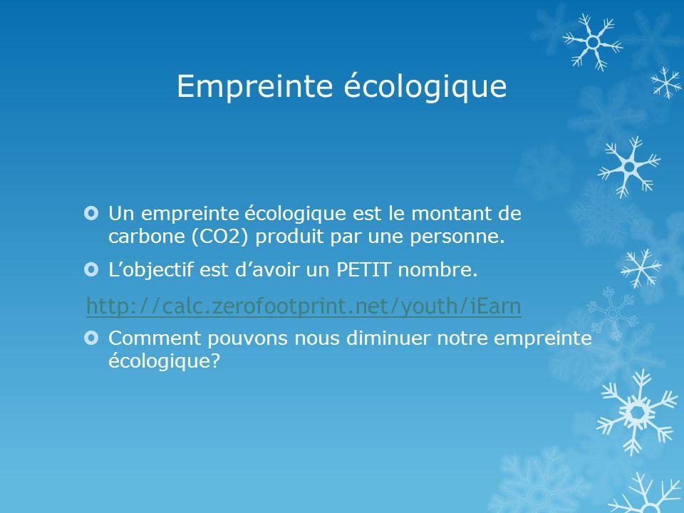 Empreinte écologique Un empreinte écologique est le montant de carbone (CO2) produit par une personne.
