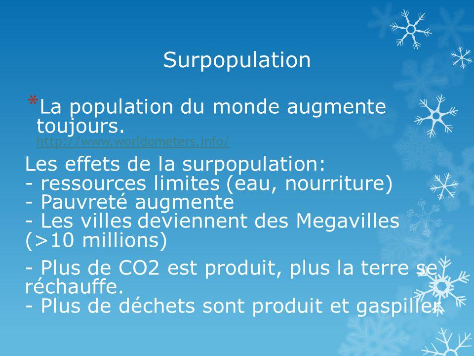 Surpopulation * La population du monde augmente toujours.