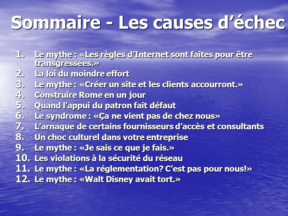 Sommaire - Les causes déchec 1. Le mythe : «Les règles dInternet sont faites pour être transgressées.» 2. La loi du moindre effort 3. Le mythe : «Crée