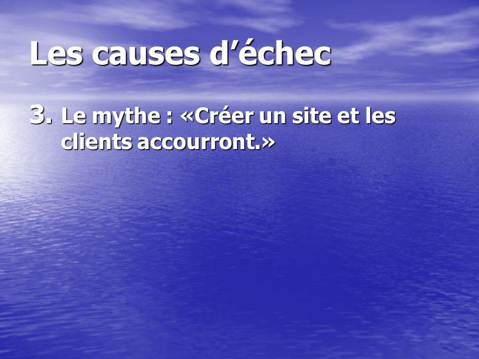 Les causes déchec 3. Le mythe : «Créer un site et les clients accourront.»