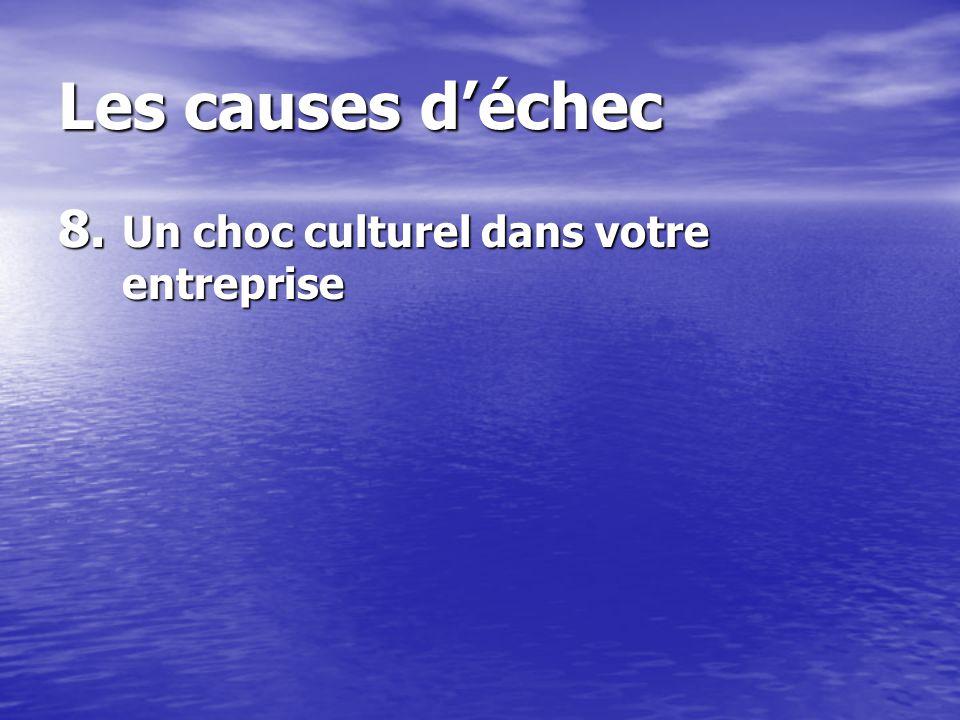 Les causes déchec 8. Un choc culturel dans votre entreprise