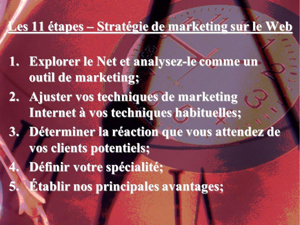 Les 11 étapes – Stratégie de marketing sur le Web 1.Explorer le Net et analysez-le comme un outil de marketing; 2.Ajuster vos techniques de marketing Internet à vos techniques habituelles; 3.Déterminer la réaction que vous attendez de vos clients potentiels; 4.Définir votre spécialité; 5.Établir nos principales avantages;