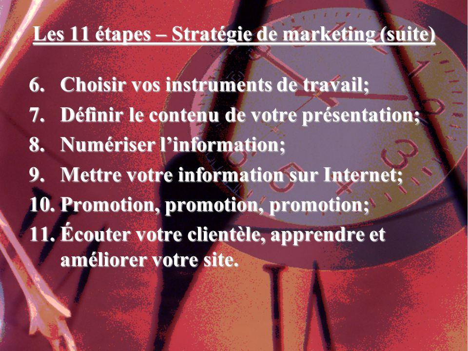 Les 11 étapes – Stratégie de marketing (suite) 6.Choisir vos instruments de travail; 7.Définir le contenu de votre présentation; 8.Numériser linformation; 9.Mettre votre information sur Internet; 10.Promotion, promotion, promotion; 11.Écouter votre clientèle, apprendre et améliorer votre site.