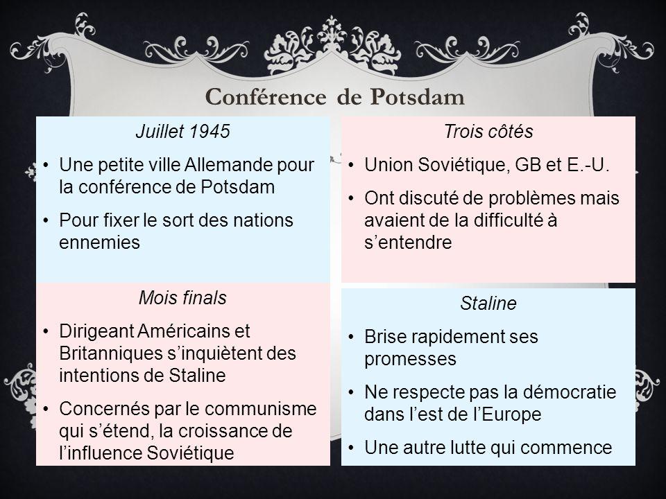 Juillet 1945 Une petite ville Allemande pour la conférence de Potsdam Pour fixer le sort des nations ennemies Mois finals Dirigeant Américains et Brit