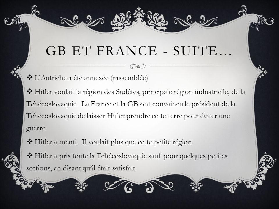 GB ET FRANCE - SUITE… LAutriche a été annexée (rassemblée) Hitler voulait la région des Sudètes, principale région industrielle, de la Tchécoslovaquie