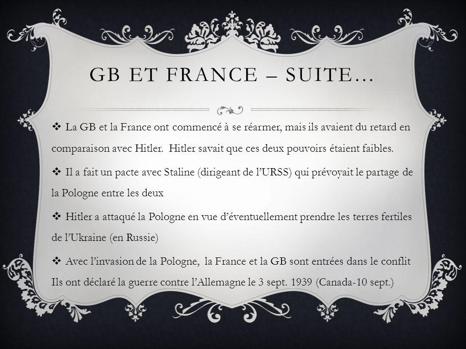 GB ET FRANCE – SUITE… La GB et la France ont commencé à se réarmer, mais ils avaient du retard en comparaison avec Hitler. Hitler savait que ces deux