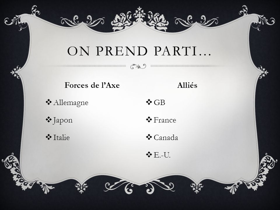 Forces de lAxe Allemagne Japon Italie ON PREND PARTI… Alliés GB France Canada E.-U.