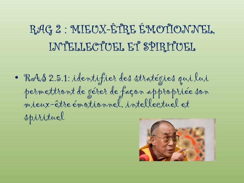 RAG 2 : MIEUX-ÊTRE ÉMOTIONNEL, INTELLECTUEL ET SPIRITUEL RAS 2.5.1: identifier des stratégies qui lui permettront de gérer de façon appropriée son mie