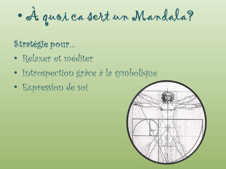 Stratégie pour… Relaxer et méditer Introspection grâce à la symbolique Expression de soi À quoi ca sert un Mandala?
