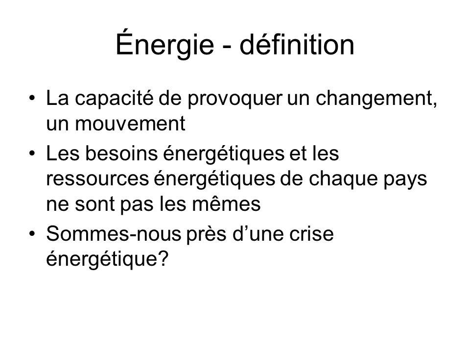 Sources dénergie Renouvelables: –Solaire –Éolienne –Marémotrice –Biomasse –Géothermique –Hydraulique (Hydroélectricité) Non-renouvelables: –Énergies fossiles (pétrole, gaz naturel, charbon) –Énergie nucléaire