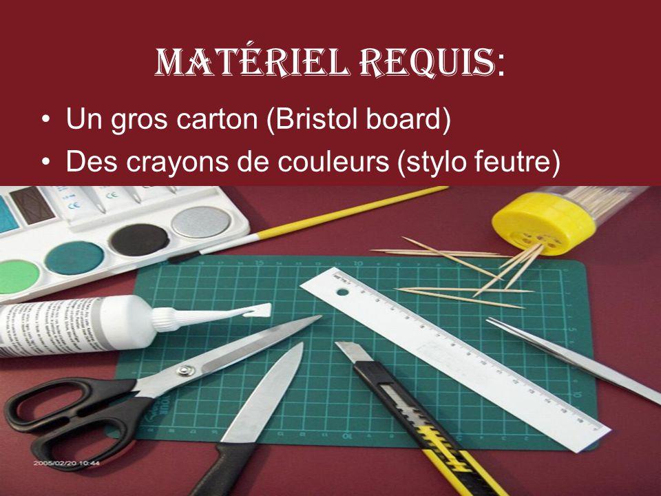 Matériel Requis : Un gros carton (Bristol board) Des crayons de couleurs (stylo feutre)