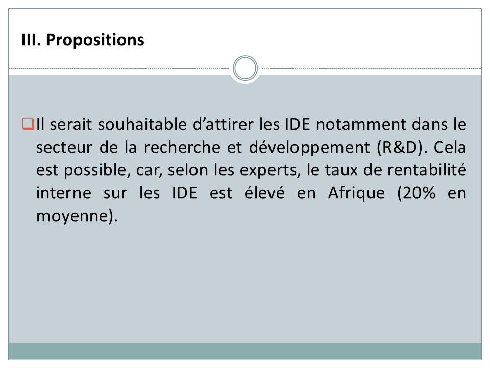 III. Propositions Il serait souhaitable dattirer les IDE notamment dans le secteur de la recherche et développement (R&D). Cela est possible, car, sel